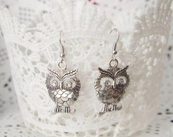 Sale Antique Owl Earrings Owl Jewelry Owl Dangle Earrings Bird Owl Earrings Bird Jewelry Halloween Dangle Drop Earrings  gift idea  Gifts fo