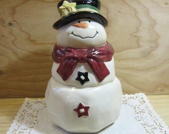 Adorable Ceramic Snowman Cookie Jar * Christmas Holidays Kitchen Decor
