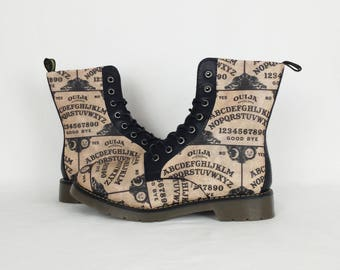 Ouija board, ouija board shoes, gothic boots, alternative clothing, women shoes, ouija gift, steampunk shoes, gift for her, boots, oddities