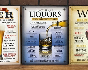 Set of 3 Wine, Beer and Liquor Signs