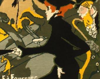 Fabulous Vintage French Completed Needlepoint Tapestry Art Nouveau. Jane Avril, Moulin Rouge, Toulouse Lautrec, Divan japonais (6648s)