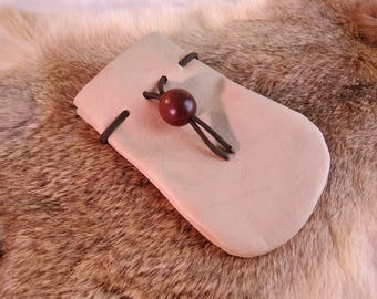 Small leather pouch with drawstring and button