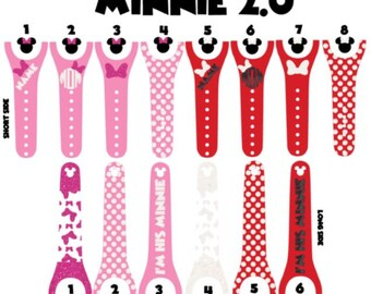 IMPROVED 2.0 Magic Band Decals, Minnie, monogrammed, personalized band