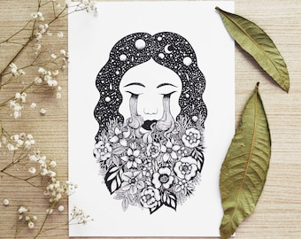 Silent Tears // A4 Vertical size Print, printed on white 250g/m paper. Designed by MenisArt
