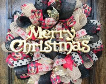 Christmas wreath - christmas decor - christmas door - christmas deco mesh wreath - christmas burlap wreath - christmas gift - housewarming