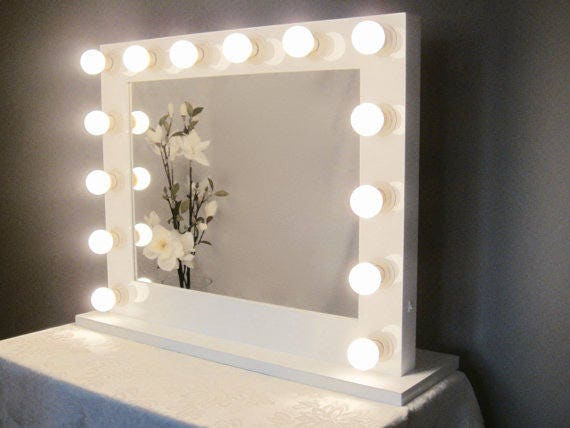 Grand Hollywood Lighted Vanity Mirror W Led Bulbs Amp Double