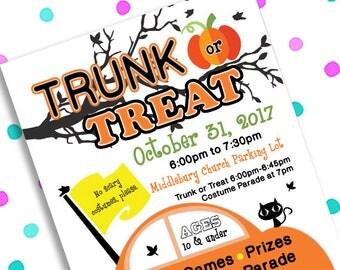 Trunk or Treat ~ Community Church HALLOWEEN PARTY ~ 5x7 Invite ~ 8.5x11 Flyer ~ 11x14 Poster ~ 300 dpi Digital Invitation