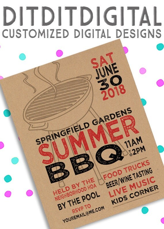 neighborhood block party bbq picnic summer 5x7 invite flyer 11x14 poster. Black Bedroom Furniture Sets. Home Design Ideas
