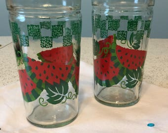 Pair of Vintage pint glasses with Watermelon design.