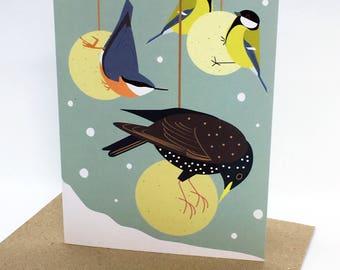 Garden Birds in the Snow Winter Greetings Card