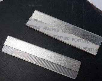 Lot de 2 lames rectangulaires pour fimo, petit cutter outil de précision en métal argenté, 58 x 15 mm