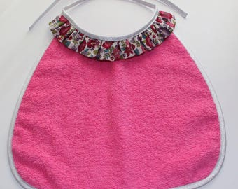 large girl towel bib pink lined silver lined fuschia with liberty pierrot collar