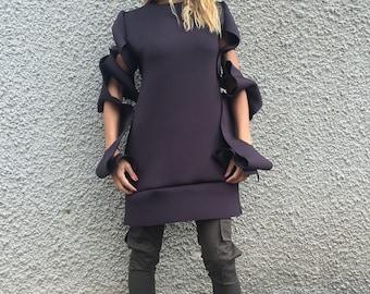 Extravagant Neoprene Tunic Top, Asymmetric Long Sleeves, Brown Thumb Holes, Women's Tunic by SSDfashion