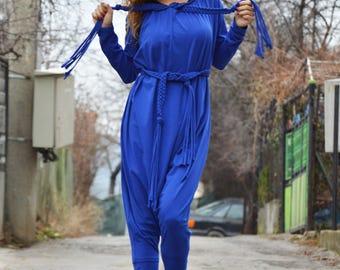 Blue Cotton Women Jumpsuit, Extravagant Loose Casual Jumpsuit, Overall Union Suit  - in belt, Drop Crotch jumpsuit by SSDfashion