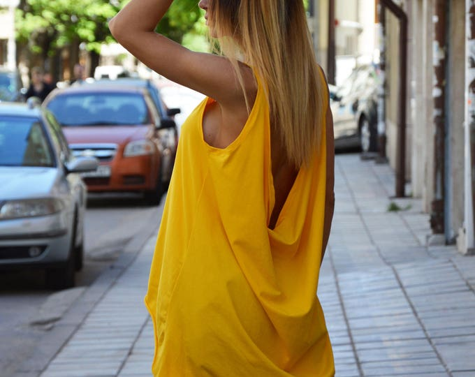 Asymmetrical Backless Tunic, Casual Long Tank Top, Loose Yellow Open Back Top, Maxi Sleeveless Tunic Top by SSDfashion