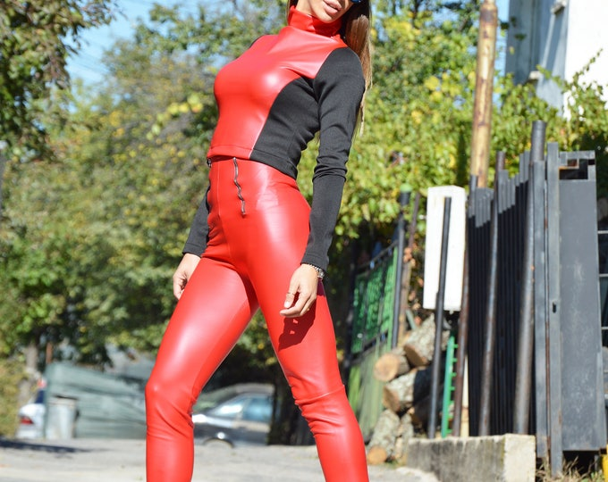 Extravagant Eco Leather Red Set, Elegant High Waist Pants With Zipper, Turtleneck Blouse, Casual Set By SSDfashion