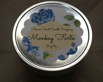 Monkey Farts hand-poured soy wax candle in 8oz tin