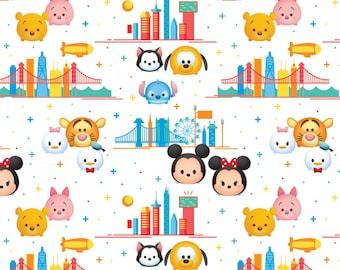 Tsum Tsum Travel Cotton Woven, Mickey Mouse Fabric, Minnie Mouse Fabric, Tsum Tsum Fabric, Disney Cotton Fabric, Mickey Mouse Material