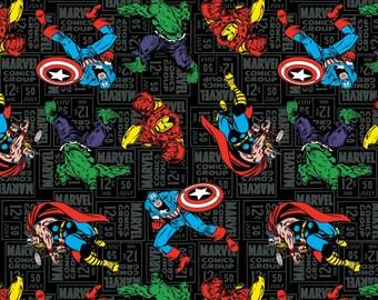Marvel Character Toss Cotton Woven, Marvel Superhero Fabric, Marvel Avengers Fabric, Comic Book Fabric, Avengers Cotton Fabric, Comic Fabric
