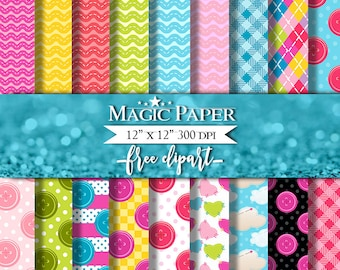 50% OFF SALE Lalaloopsy Digital Paper Clipart Clip Art, Rag Dolls digital paper pack, Lalaloopsy, Buttons, Stitched Hearts for scrapbooking