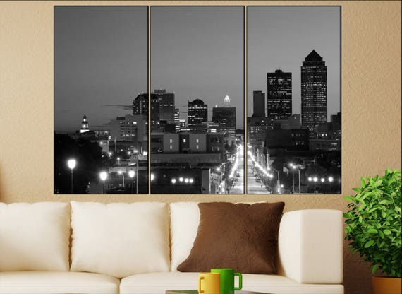 Des Moines, Iowa skyline canvas wall art  Des Moines canvas wall art art Des Moines wall decoration Des Moines large canvas wall art