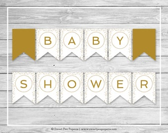 White and Gold Baby Shower Banner - Printable Baby Shower Banner - White Gold Confetti Baby Shower - Baby Shower Banner - EDITABLE - SP149