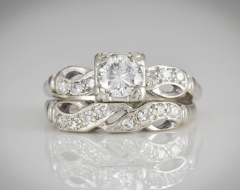 Art Deco Wedding Ring Set; Engagement Ring & Wedding Band; Diamonds,  .50+ carats; 14K White Gold; Size 6.5 LB318