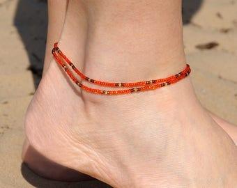 Beaded Anklet Double Wrap Anklet Boho anklet Beach anklet Bohemian anklet bracelet gypsy anklet summer anklet for her girlfriend gift ideas