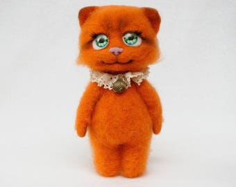Felt cat Needle felted toy Orange cat toy birthday gift for girls teen gift from mom to daughter gift home decor cat lover gift cat figurine