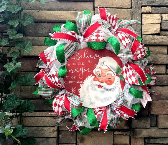 Mid Century Christmas Wreath, Red Christmas Wreath, Rustic Home Decor, Vintage Christmas Decor, Holiday Home Decor, Handmade Gift, Gift Idea