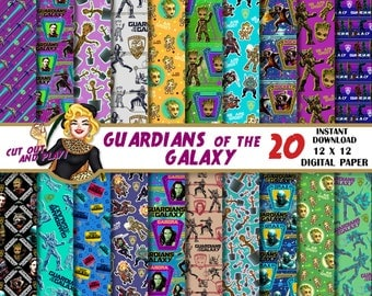 Guardians of the galaxy digital paper, Guardians of the galaxy party, Groot, Gamora, Star Lord, Rocket, GOTG Pattens, Backgrounds, Scrapbook