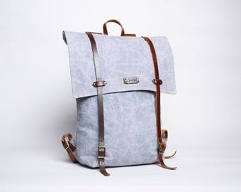Waxed Canvas & Leather Backpack - Steel Grey