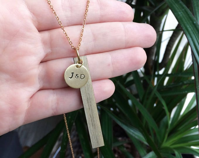 Hand Stamped Beetle Kill Wood Bar Necklace