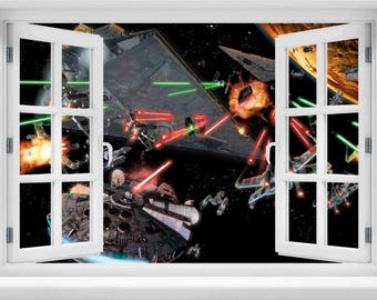 Window with a View Star Wars Space Battle Wall Mural