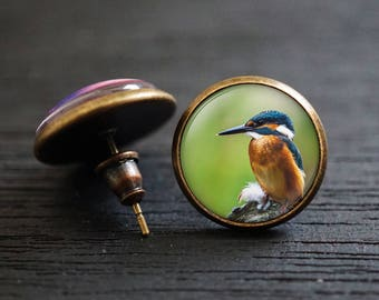 Humming Bird Earrings, Bird Stud Earrings, Blue Birtd Earrings, Bird Earrings