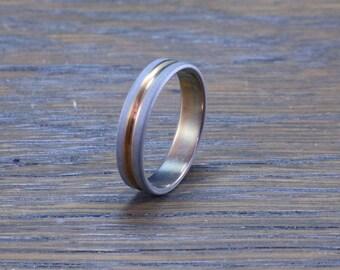 Anodized and sandblasted titanium ring.