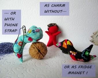 Christmas gift, Sarubobo Gift Japan, Sarubobo Monkey, fridge magnet, japanese lucky charm, handmade gift, monkey charm