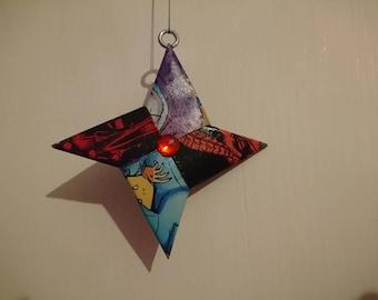 Comic book origami ninja star hanging ornament