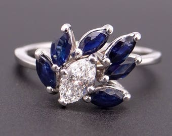 Beautiful 14k White Gold 1.50ct Marquise Cut Sapphire Diamond Cluster Band Ring Size 7.5