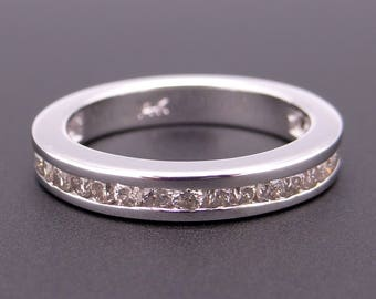 Classic 14k White Gold .50ct Round Diamond 3.5mm Channel Set Wedding Band Ring Size 6.25