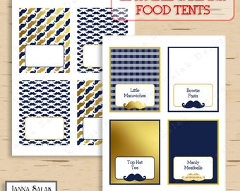 Little Man Food Tents Baby Shower Mustache Party Printables Navy Blue and Gold Mustache DIY Printable INSTANT DOWNLOAD LM008