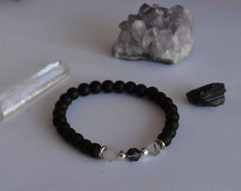 TBU Geometric Smokey Quartz and black Onyx, silver spacer 6mm