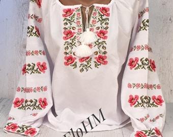 Vyshyvanka Ukrainian Embroidered Blouse , Traditional , Folk Blouse