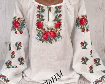 Vyshyvanka Ukrainian Embroidered Linen Blouse Romanian Blouse