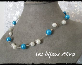 Necklace made of white and turquoise beads