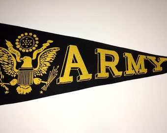 Vintage Army Pennant Football Felt School Pennant Flag 1950s-1960s