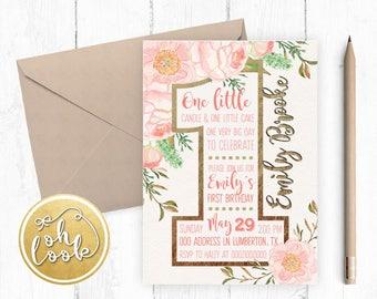 Invitation / First Birthday / Floral / Birthday Party / DIY / Printable / Party Digital Invitation Printable / Gold / DIGITAL
