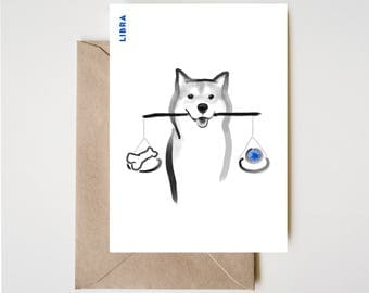 Libra Shiba Card, Horoscope Dog Sumi-e Ink Painting Zen B&W Illustration February Birthday Cute Zodiac Drawing