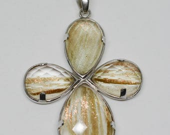 Large silver tone cross pendant