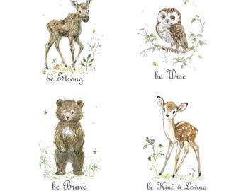 Owl nursery print be brave be kind fawn nursery be wise be clever bear print The set of 4 giclee prints watercolor print woodland animals